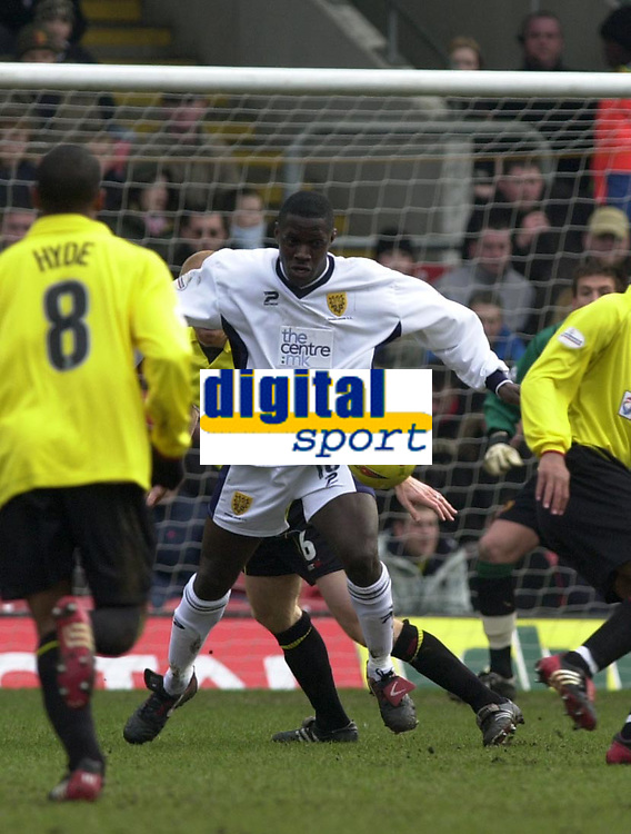 Photo. © Peter Spurrier/Sportsbeat Images<br /> 28/02/2004  -  Nationwide Div 1 Watford v Wimbledon<br /> Wimbledons Wayne Gray, back to goal, controls the ball to lay's of a pass.