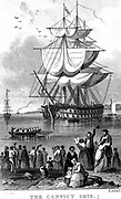 Transportation: Convict ship ready to sail from England to Australia, parts of which Britain used as a penal colony. Friends and relations having said farewell, probably for ever, wave from the shore. Early 19th century engraving.