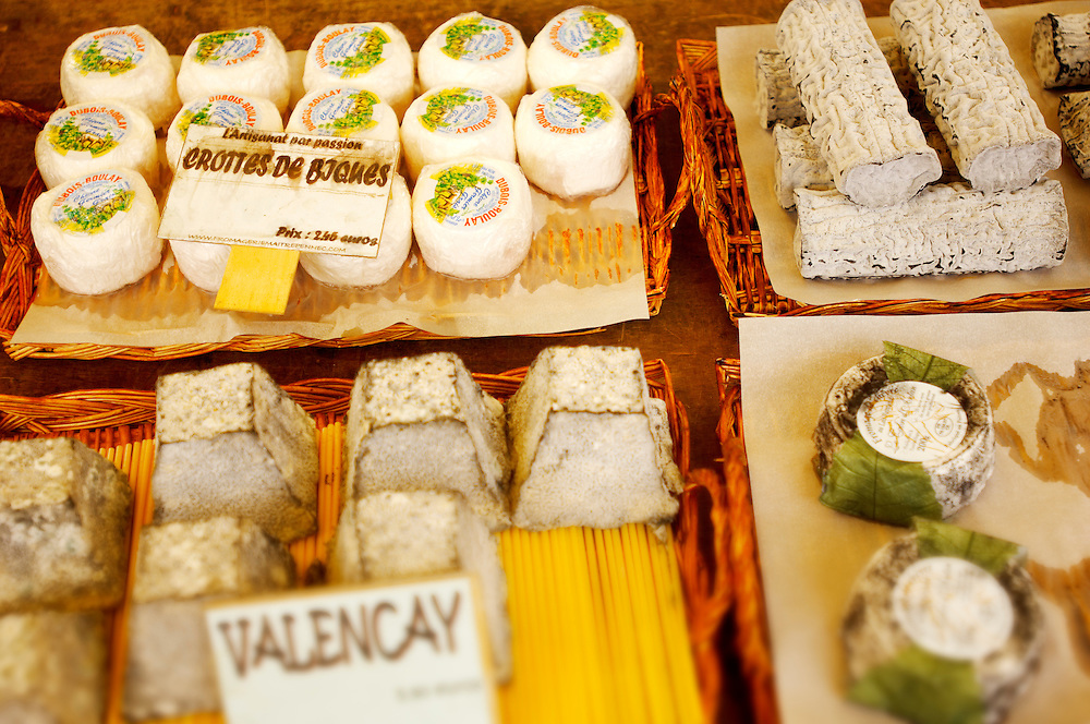 Valencay Goats soft whole cheese on a cheese market stall Honfleur Normandy France