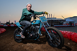 Danny Schneider of Hard Nine Choppers in Switzerland built this bike after 3-months of intensive chemo-therapy, just in time for it's unveil at Motor Bike Expo (MBE) bike show. Verona, Italy. Thursday, January 16, 2020. Photography ©2020 Michael Lichter.