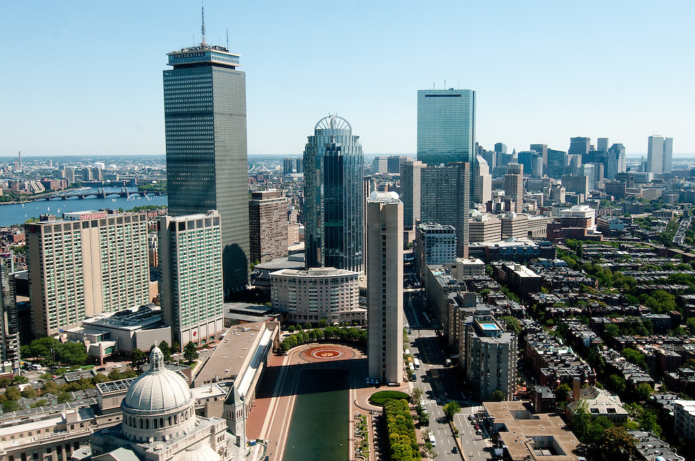 Aerial view of Boston from Flight Centre helicopter with the Christian Science Center in the foreground, followed by Back Bay, and then downtown in the distance.