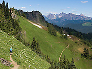 View of the North Cascade mountain range from a big turn in the Church Mountain trail in Mount Baker - Snoqualmie National Forest, Washington, USA.