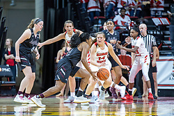 NORMAL, IL - February 27: Paige Saylor defends Brice Calip during a college women's basketball game between the ISU Redbirds and the Bears of Missouri State February 27 2020 at Redbird Arena in Normal, IL. (Photo by Alan Look)