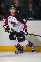KELOWNA, CANADA - OCTOBER 18: Marc McNulty #3 of the Prince George Cougars skates on the ice against the Kelowna Rockets as the Prince George Cougars visit the Kelowna Rockets on October 18, 2012 at Prospera Place in Kelowna, British Columbia, Canada (Photo by Marissa Baecker/Shoot the Breeze) *** Local Caption ***