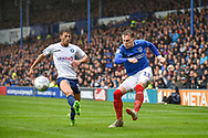 Portsmouth Midfielder, Ronan Curtis (11) crosses the ball during the EFL Sky Bet League 1 match between Portsmouth and Wycombe Wanderers at Fratton Park, Portsmouth, England on 22 September 2018.