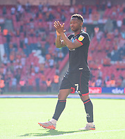Lincoln City's Tayo Edun applauds the fans at the final whistle<br /> <br /> Photographer Chris Vaughan/CameraSport<br /> <br /> The EFL Sky Bet League One Play-Off Final - Blackpool v Lincoln City - Sunday 30th May 2021 - Wembley Stadium - London<br /> <br /> World Copyright © 2021 CameraSport. All rights reserved. 43 Linden Ave. Countesthorpe. Leicester. England. LE8 5PG - Tel: +44 (0) 116 277 4147 - admin@camerasport.com - www.camerasport.com