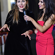 Singer Violeta Skya interview by Ellie Torrez at SMGlobal Catwalk - London Fashion Week F/W19 at Clayton Crown Hotel,  Cricklewood Broadway, on 1st March 2019, London, UK.