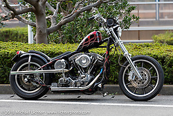 Random Harley-Davidson Shovelhead chopper outside 27th Annual Mooneyes Yokohama Hot Rod Custom Show 2018. Yokohama, Japan. Saturday, December 1, 2018. Photography ©2018 Michael Lichter.