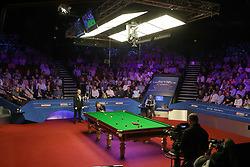 John Higgins at the table during day seventeen of the 2018 Betfred World Championship at The Crucible, Sheffield.