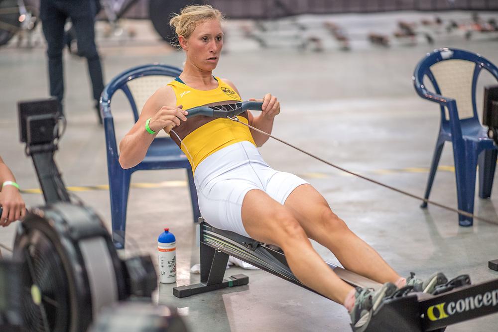Lisa Scheenaard FEMALE HEAVYWEIGHT Novice U19 2K Race #3  09:00am<br /> <br /> <br /> www.rowingcelebration.com Competing on Concept 2 ergometers at the 2018 NZ Indoor Rowing Championships. Avanti Drome, Cambridge,  Saturday 24 November 2018 © Copyright photo Steve McArthur / @RowingCelebration