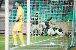 Players  of NK Olimpija Ljubljana during football match between NK Olimpija Ljubljana (SLO) and HSK Zrinjski Mostar (BIH) in Second Round of UEFA Europa League Qualifications, on September 17, 2020 in Stadium Stozice, Ljubljana, Slovenia. Photo by Grega Valancic / Sportida