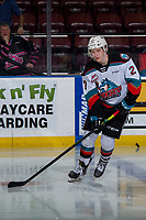 KELOWNA, BC - JANUARY 11: Jonas Peterek #27 of the Kelowna Rockets warms up for his first game as a Rocket against the Kamloops Blazers at Prospera Place on January 11, 2020 in Kelowna, Canada. (Photo by Marissa Baecker/Shoot the Breeze)
