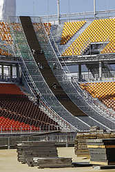 October 30, 2017 - Pyeongchang, Gangwon, South Korea - Oct 30, 2017-Pyeongchang, South Korea-Workers build a main stadium in Pyeongchang, South Korea, the venue for ice hockey in the Pyeongchang Winter Olympics in February 2018. (Credit Image: © Ryu Seung Il via ZUMA Wire)