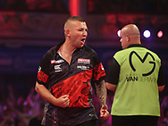 Nathan Aspinall during the PDC BetVictor World Matchplay Darts 2021 tournament at Winter Gardens, Blackpool, United Kingdom on 23 July 2021.