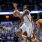 UNCASVILLE, CONNECTICUT- DECEMBER 4:  Crystal Dangerfield #5 of the Connecticut Huskies drives to the basket during the UConn Huskies Vs Texas Longhorns, NCAA Women's Basketball game in the Jimmy V Classic on December 4th, 2016 at the Mohegan Sun Arena, Uncasville, Connecticut. (Photo by Tim Clayton/Corbis via Getty Images)