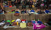 Four hundred triathletes prepare to enter the water for training in Lake Michigan off Ohio Street Beach before a weekend competition Tuesday, Aug. 19, 2014. (Brian Cassella/Chicago Tribune) B583952094Z.1 <br /> ....OUTSIDE TRIBUNE CO.- NO MAGS,  NO SALES, NO INTERNET, NO TV, CHICAGO OUT, NO DIGITAL MANIPULATION...