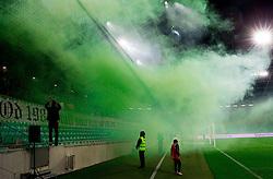 Green Dragons, supporters of Olimpija celebrate 25th Anniversary during football match between NK Olimpija Ljubljana and NK Celje in 14th Round of Prva Liga Telekom Slovenije 2013/14, on October 19, 2013 in SRC Stozice, Ljubljana, Slovenia. (Photo by Vid Ponikvar / Sportida)