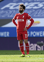 Football - 2020 / 2021 Premier League - Leicester City vs Liverpool - King Power Stadium<br /> <br /> Liverpool's Mohamed Salah dejected as Leicester City's Harvey Barnes scores his side's third goal.<br /> <br /> COLORSPORT/ASHLEY WESTERN
