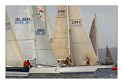 Yachting- The first days racing  of the Bell Lawrie Scottish series 2003 at Gourock.  The wet start looks set to last for the overnight race to Tarbert..Classes line up for the Start Tundra,GBR3072C, Miss Tuttles, IRL 9694 , Moondance, 2198C..Pics Marc Turner / PFM