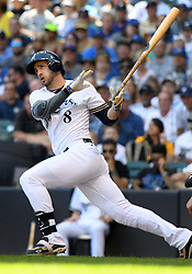 June 13, 2018 - Milwaukee, WI, U.S. - MILWAUKEE, WI - JUNE 13: Milwaukee Brewers Outfield Ryan Braun (8) makes contact during a MLB game between the Milwaukee Brewers and Chicago Cubs on June 13, 2018 at Miller Park in Milwaukee, WI. The Brewers defeated the Cubs 1-0.(Photo by Nick Wosika/Icon Sportswire) (Credit Image: © Nick Wosika/Icon SMI via ZUMA Press)