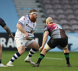 Jake Woolmore of Bristol Bears takes on Tom Lawday of Harlequins - Mandatory by-line: Matt Impey/JMP - 26/12/2020 - RUGBY - Twickenham Stoop - London, England - Harlequins v Bristol Bears - Gallagher Premiership Rugby