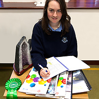 Deirdre O'Connell from Mary Immaculate Secondary School, Lisdoonvarna, showing her study into the geography of winning young scientists projects