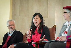 8 December 2019, Madrid, Spain: Dr Grace Ji-sun Kim from Earlham School of Religion speaks during a session following an ecumenical prayer service held in the Iglesia de Jesús in central Madrid during COP25.