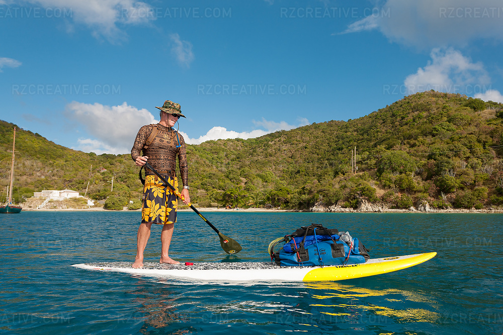 Ted Rutherford standup paddling around the island of St. John, USVI. Photo © Robert Zaleski / rzcreative.com<br /> —<br /> To license this image for editorial or commercial use, please contact Robert@rzcreative.com