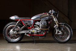 Rodsmith Motorcycles' Craig Rodsmith's cafe racer inspired 2017 turbocharged Moto Guzzi v9 Sport with hand formed aluminum skins at the Handbuilt Show. Austin, TX. USA. Friday April 20, 2018. Photography ©2018 Michael Lichter.
