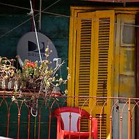 South America, Argentina, Buenos Aires. La Boca balcony and satellite dish.