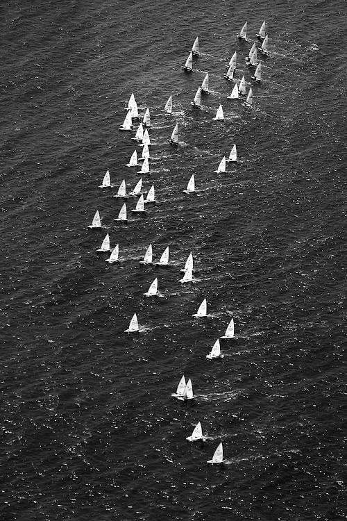Wrightsville Beach, North Carolina - May 20: Aerial photographs of the 2007 Laser Sailboat Nationals, held at Wrightsville Beach NC, on May, 20, 2007.