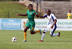Danny Phiri of Golden Arrows holds off Strydom Wambi of Chippa United during the 2016 Premier Soccer League match between Golden Arrows and Chippa United held at the Princess Magogo Stadium in Durban, South Africa on the 15th October 2016<br /> <br /> Photo by:   Steve Haag / Real Time Images