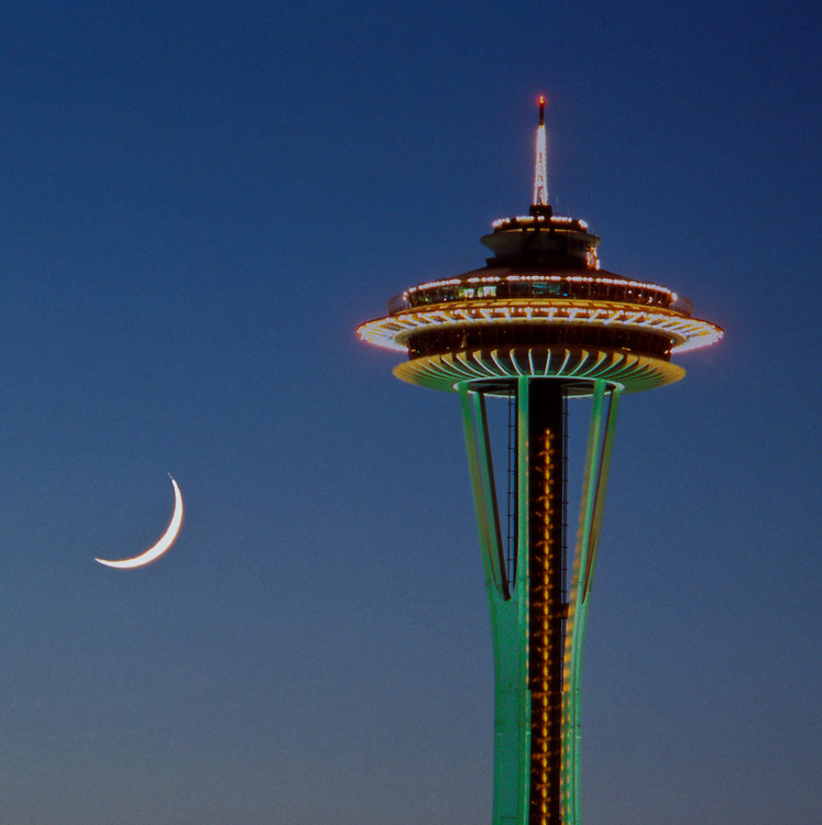 Space Needle, crescent moon, Seattle, Washington