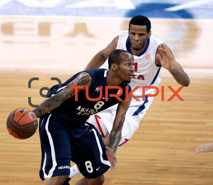 Anadolu Efes's Terence Kinsey (L) and CSKA Moscow's Sammy Mejia (R) during their Euroleague Top 16 basketball match Anadolu Efes between CSKA Moscow at the Abdi Ipekci Arena in Istanbul at Turkey on Thursday, March, 01, 2012. Photo by TURKPIX