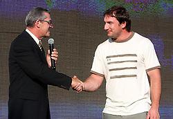 Leo Kremzar of OKS and Athlete Primoz Kozmus, Olympic gold medal winner at welcome ceremony in Olympic City BTC, on August 21, 2008, in Alea Mladih, BTC, Ljubljana, Slovenia. (Photo by Vid Ponikvar / Sportal Images)./ Sportida)