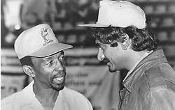 Chris Dlamini, (vice president of Cosatu) and Jay Naidoo (general secretary of Cosatu) at the Cosatu Congress. Pic: Garth Lumley. 12/09/1993. © Times Media