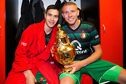Kevin Diks of Feyenoord, Sven van Beek of Feyenoord, cup, trophy, , dressing room during the Dutch Toto KNVB Cup Final match between AZ Alkmaar and Feyenoord on April 22, 2018 at the Kuip stadium in Rotterdam, The Netherlands.