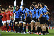 Uruguay team capt Santiago Vilaseca © motivates his players after their national anthem. Rugby World Cup 2015 pool A match, Wales v Uruguay at the Millennium Stadium in Cardiff, South Wales  on Sunday 20th September 2015.<br /> pic by  Andrew Orchard, Andrew Orchard sports photography.