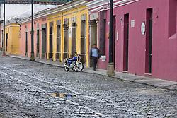 Motorcycle on street, Antigua, Guatemala