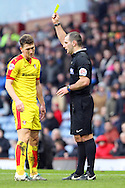 Richard Smallwood of Rotherham United receives a yellow card from referee Tim Robinson. Skybet football league Championship match, Burnley v Rotherham United at Turf Moor in Burnley, Lancs on Saturday 20th February 2016.<br /> pic by Chris Stading, Andrew Orchard sports photography.