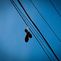 Shoes hanging above.