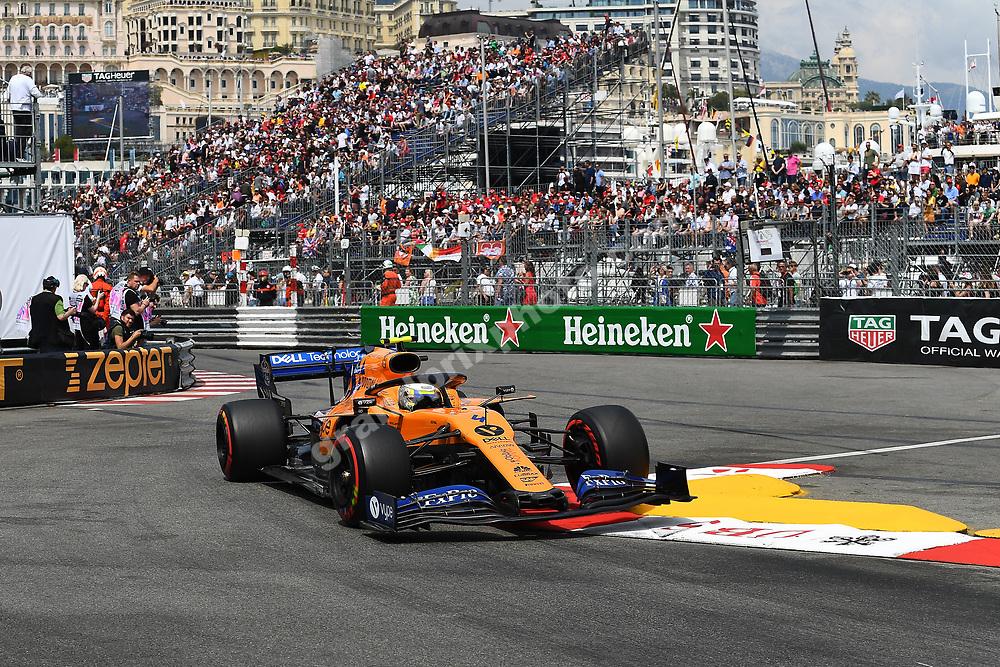Lando Norris (McLaren-Renault) during qualifying before the 2019 Monaco Grand Prix. Photo: Grand Prix Photo