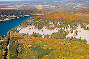 Aerial view of of the South Bluff and Devil's Lake at Devil's Lake State Park near Baraboo, WIsconsin in the distance.