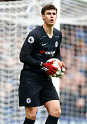 Chelsea's Kepa Arrizabalaga during an English Premier League soccer match between Chelsea and Everton at Stamford Bridge stadium, Sunday, March 8, 2020, in London, United Kingdom. Chelsea defeated Everton 4-0. (Mitchell Gunn-ESPA Images/Image of Sport via AP)