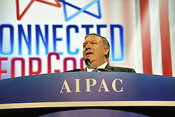 March 26, 2019 - Washington, DC, United States of America - U.S. Secretary of State Mike Pompeo delivers remarks at the AIPAC Policy Conference March 25, 2019 in Washington, D.C. The American Israel Public Affairs Committee is a lobbying group that advocates pro-Israel policies to the Congress and Executive Branch of the United States. (Credit Image: © Michael Gross via ZUMA Wire)