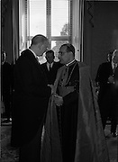 17/08/1962<br /> 08/17/1962<br /> 17 August 1962<br /> New Papal Nuncio presents credentials to the President at Aras an Uachtarain. Picture shows His Excellency the Most Rev. Giuseppe Sensi, Titular Archbishop of Sardi. presenting his Letter of Credence and chatting with President Eamon de Valera at the ceremony.