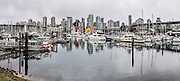 False Creek (a seawater inlet of English Bay) between Burrard and Granville Street Bridges, in Vancouver, British Columbia, Canada. This panorama was stitched from 2 overlapping images.