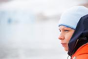 Glaciologist Agnieszka Piechota in the field at Paierlbreen glacier, Hornsund, Svalbard.