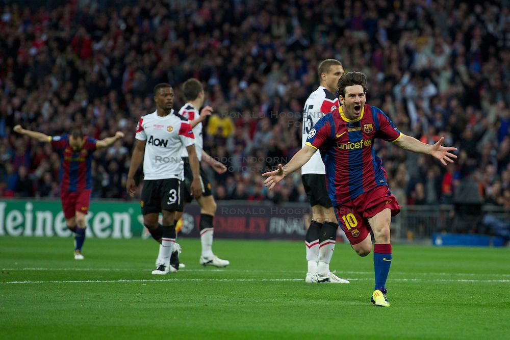 28-05-2011 VOETBAL: CHAMPIONS LEAGUE FINAL FC BARCELONA - MANCHESTER UNITED: LONDON<br /> Lionel Messi celebrates scoring the second goal against Manchester United<br /> ***NETHERLANDS ONLY***<br /> ©2011- FotoHoogendoorn.nl/nph/Chris Brunskill