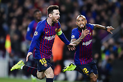 March 13, 2019 - Barcelona, Catalonia, Spain - March 13, 2019 - Barcelona, Spain - Uefa Champions League 1/8 of final second leg, FC Barcelona v Olympique de Lyon: Lionel Messi of FC Barcelona scores his side's 3rd goal  (Credit Image: © Marc Dominguez/ZUMA Wire)